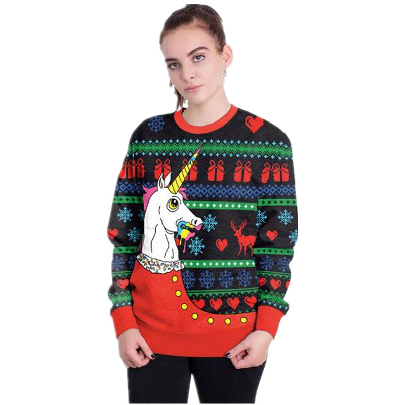 2018 Ugly Christmas Sweater Santa Print Loose Sweater Mens And