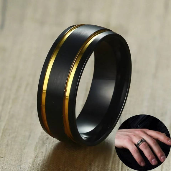 Stainless Steel Men Brushed Black Wedding Band Gold Tone Double Grooved Ring