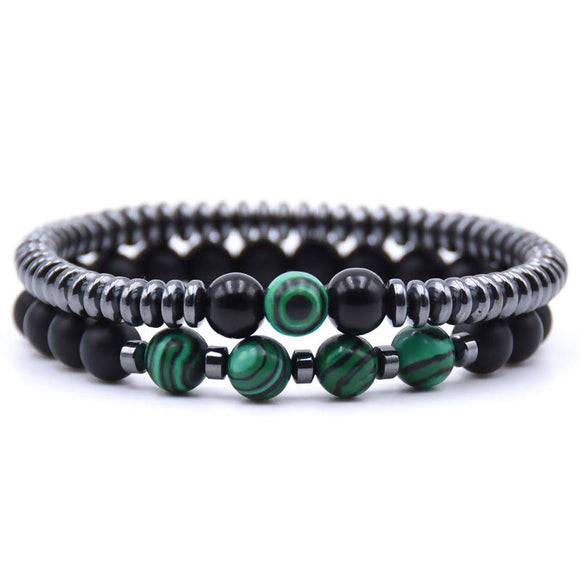 2PCS/Set Fashion Natural stone 8mm beads Bracelet men 6mm Hematite Round tablets Chain Bracelets For Women pulseras