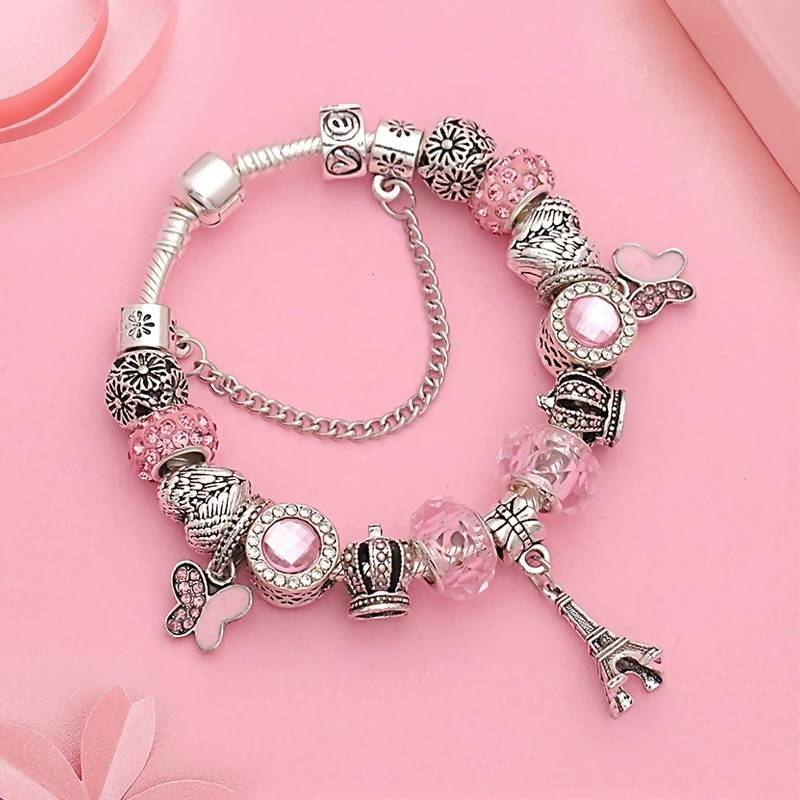 Silver Eiffel Tower Heart Crown Charms Pandora Bracelet