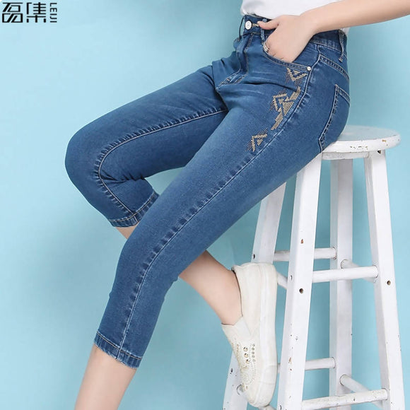 Embroidery Jeans For Women High Waist Plus Size Summer Calf Length Thin Softener Skinny Female Pencil Denim Pants 6XL