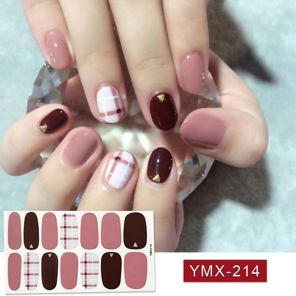 14tips/sheet Beauty Nail Art Stickers Full Cover Sticker Wraps Decorations DIY Manicure Slider Nail Vinyls Adhesive Nails Decals for girls