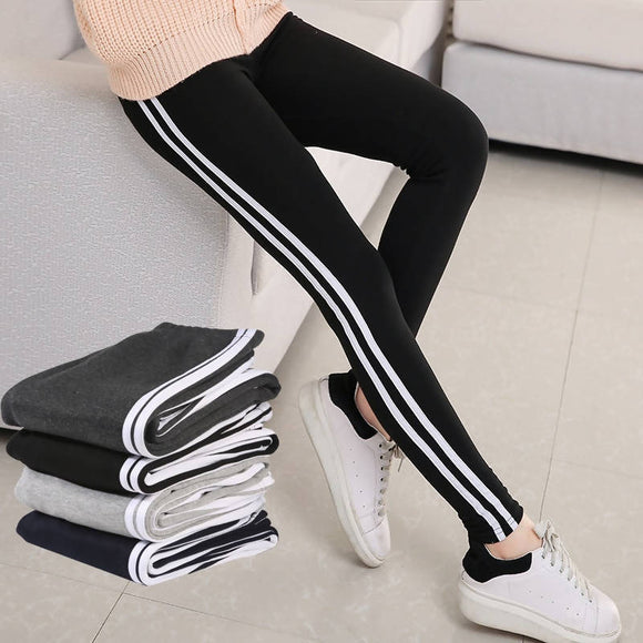 pants 2017 women pencil pants Side Striped Trousers High Waist casual fitness pants striped pants autumn spring