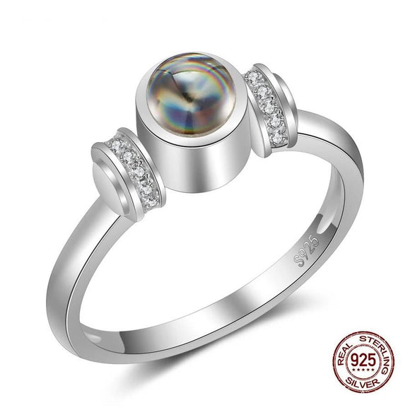 925 Sterling Silver Stone Projection 100 Languages I Love You Fashion Engagement Wedding Ring For Women