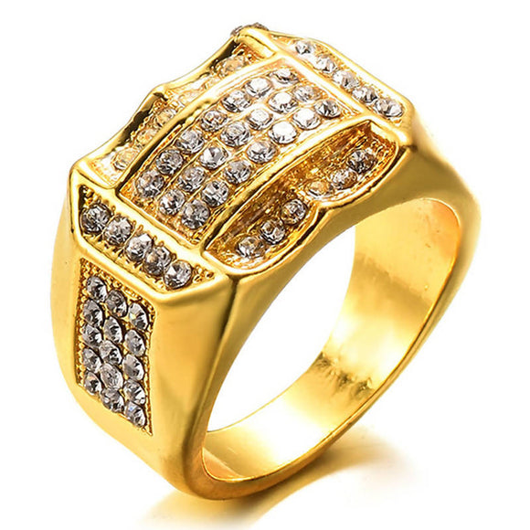 Men's Fashion Gold Iced Out Cubic Zirconia Ring Hip Hop Men's Punk Style Ring Men's Gold Ring