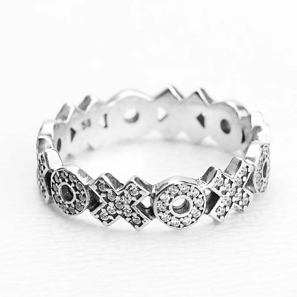 Clear Cubic Zircon Stones Real 925 Sterling Silver Finger Ring