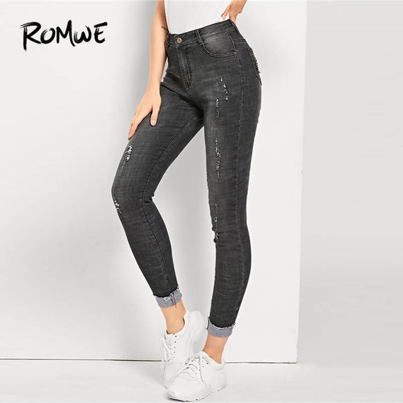 ROMWE Ripped Faded Wash Jeans 2019 Women Black Solid Pencil Crop Zipper Fly Trousers Mid Waist Female Stretchy Denim Pants