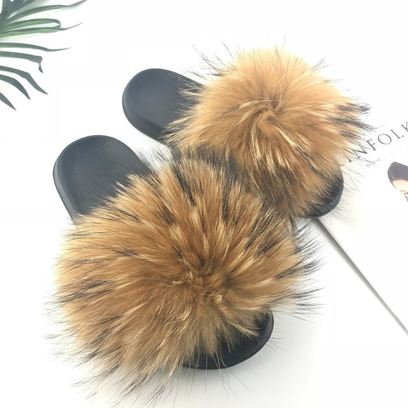 Real Raccoon Fur Slippers Women Sliders Casual Fox Hair Flat Fluffy Fashion Home Summer Big Size 45 Furry Flip Flops Shoes