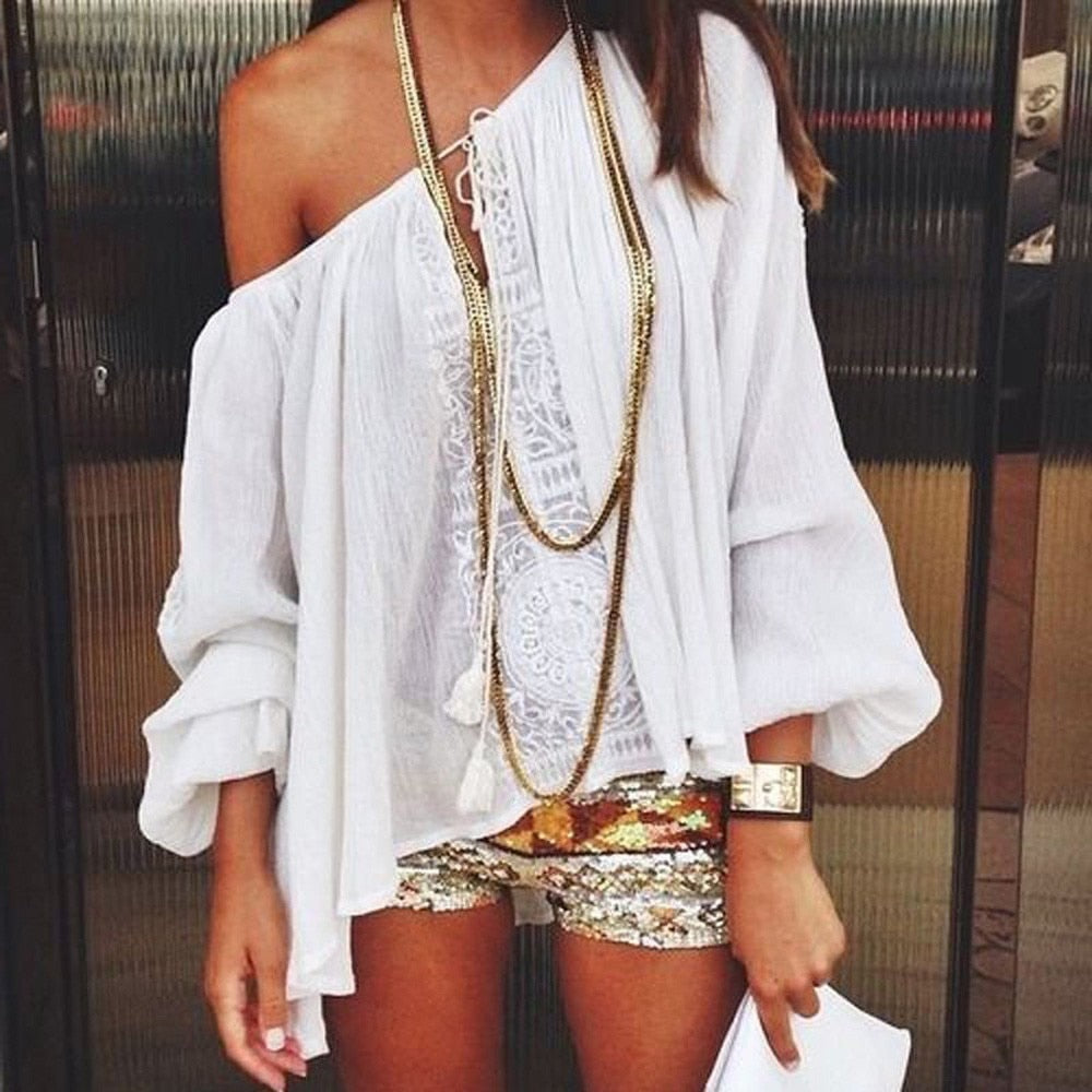 7a9a6f2797220 New arrival Women White Sexy One Off Shoulder Casual Tops Plus Size Blouse  Boho Lace Crochet