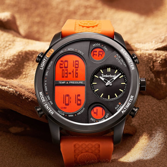 Timberland Mes Watches Quartz Leather Silicone Strap Thermometer Barometer Altimeter Dual Display Stopwatch Sport Watch 15378