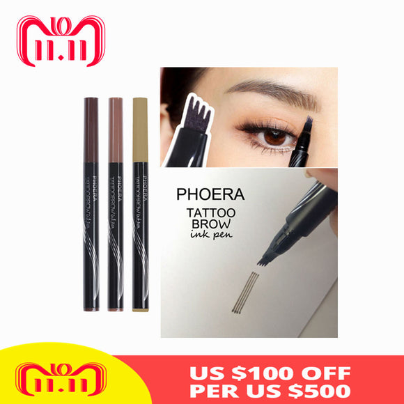 PHOERA 3 Colors Microblading Eyebrow Tattoo Pen Fine Sketch Liquid Eyebrow Pen Waterproof Tattoo Fork Tip Eye Brow Pencil TSLM2-Makeup-Zodeys-01 Blonde-Zodeys