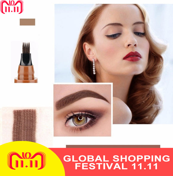 Superior Quality Four Colors Waterproof Microblading Eyebrow Tattoo Pen Fine Sketch Enhancer Fork Tip Eyebrow Pencil TSLM2-Makeup-Zodeys-01 brown-Zodeys