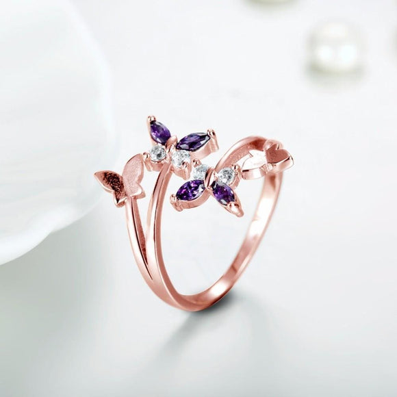 Adjustable Butterfly Crystal Wings Ring Jewelry & Accessories > Rings