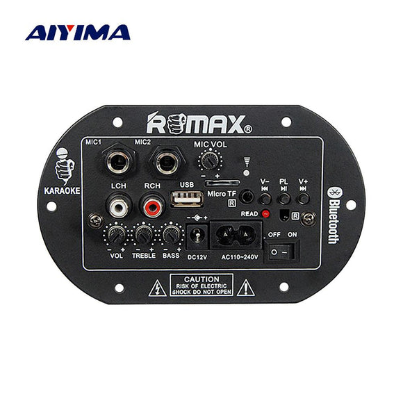 Aiyima Subwoofer Amplifier Board Dual Microphone Bluetooth Amplifier Audio Board 12V 220V Car Home Theater Sound System-Zodeys-Zodeys