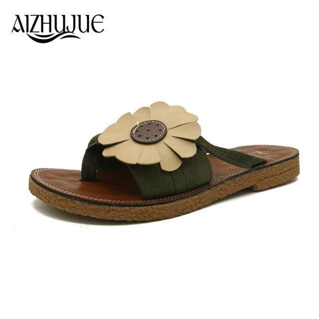 Aizhujue Women Summer Slippers Bow Flat Slippers Girls Flip Flops Strap Open Toe Unicornio Women Shoes Zapatos Mujer Black / 4 Apparel &