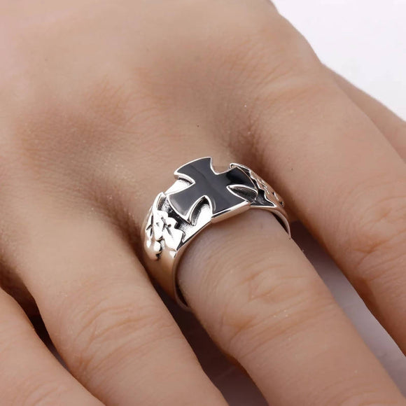 Real 925 Sterling Silver Ring Cross Black Enamel Punk Style Ring