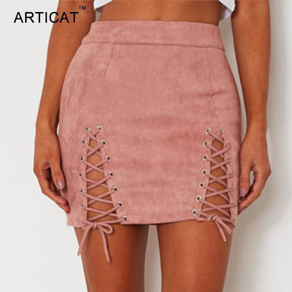 Articat Sexy Lace Up Leather Suede Skirts Women Vintage Cross Zipper Split Mini Skirt Sexy High Waist Bodycon Short Pencil Skirt Apparel &