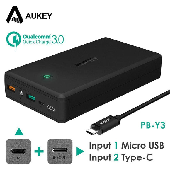 Aukey 30000Mah Power Bank Portable Charger Quick Charge 3.0 Powerbank External Battery Pack For Iphone X 8 Xiaomi Mi7 Poverbank Electronics