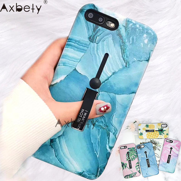 AXBETY For iPhone 7 For iPhone XS MAX xr 6s 7 Plus Cover Marble Soft Silicon Case Hide Ring Stand Holder Phone Cases For iPhone8-Phone Cases-Zodeys-A1-For i6 6S-Zodeys