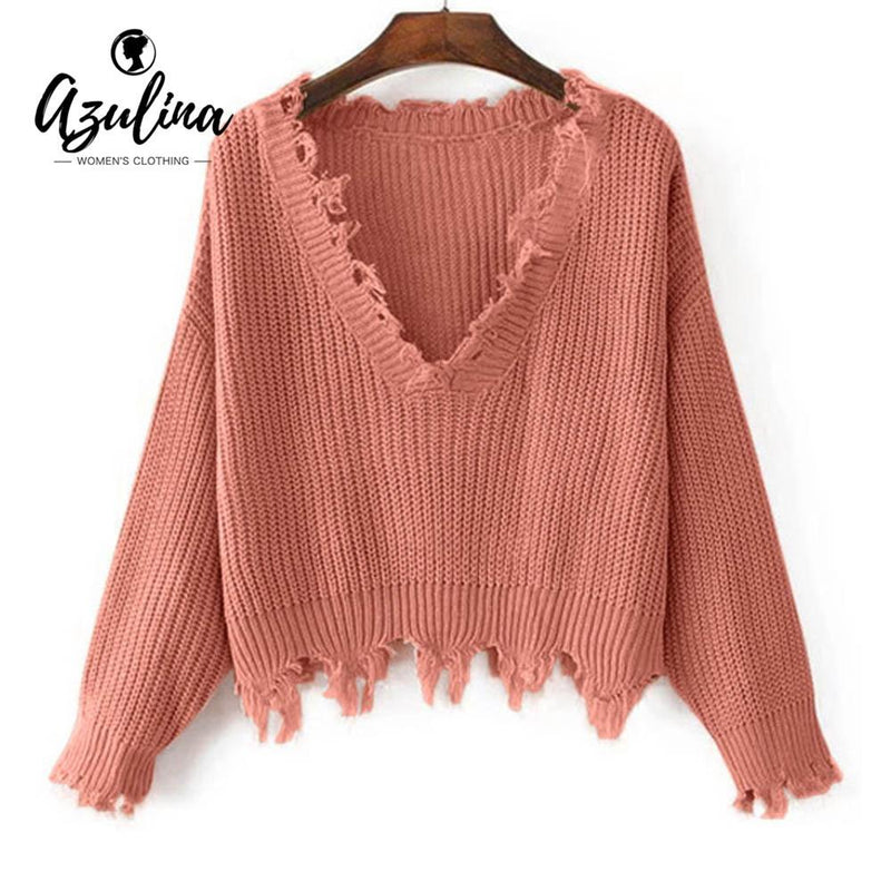 AZULINA Knitted Sweater Autumn Women One Size Ripped V Neck Loose Sweater  Pullovers Ladies Solid Color 871eadcef