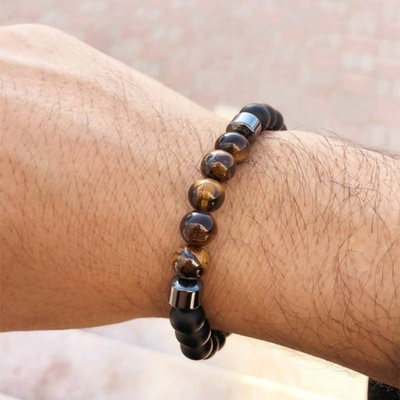 Popular Tiger Eye Bead Bracelet Men Fashion Stone Beaded Charm Bracelet