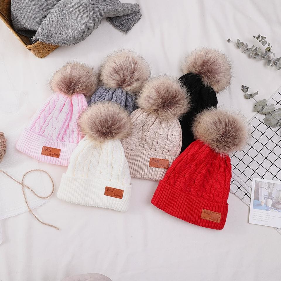 9c97185e4b2 Baby Beanie Hat Winter Toddler Warm Knitted Hat For Girl Baby Boys Hats Fur  Pompom Skullies