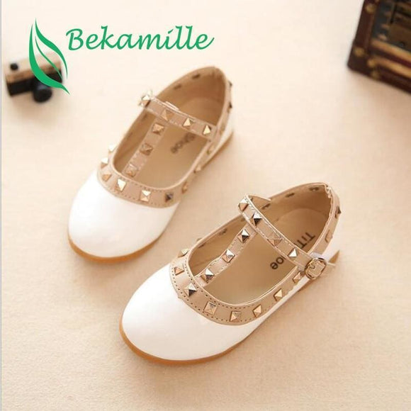 Bekamille New Girls Sandals Kids Leather Shoes Children Rivets Leisure Sneakers Hot Girls Princess Dance Shoes Bekamille Official Store