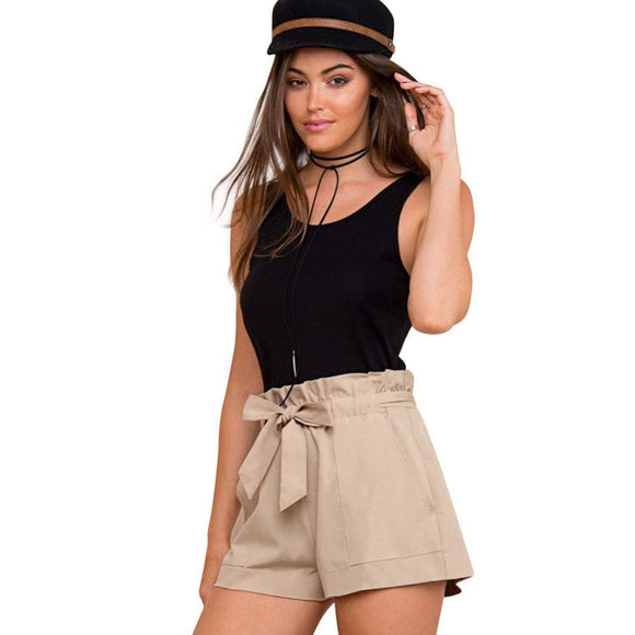 Belt Ruffle Waist Women Summer Shorts High Waist Loose Bottom Boho Shorts Black Khaki Summer Beach Casual Party Shorts Apparel & Accessories