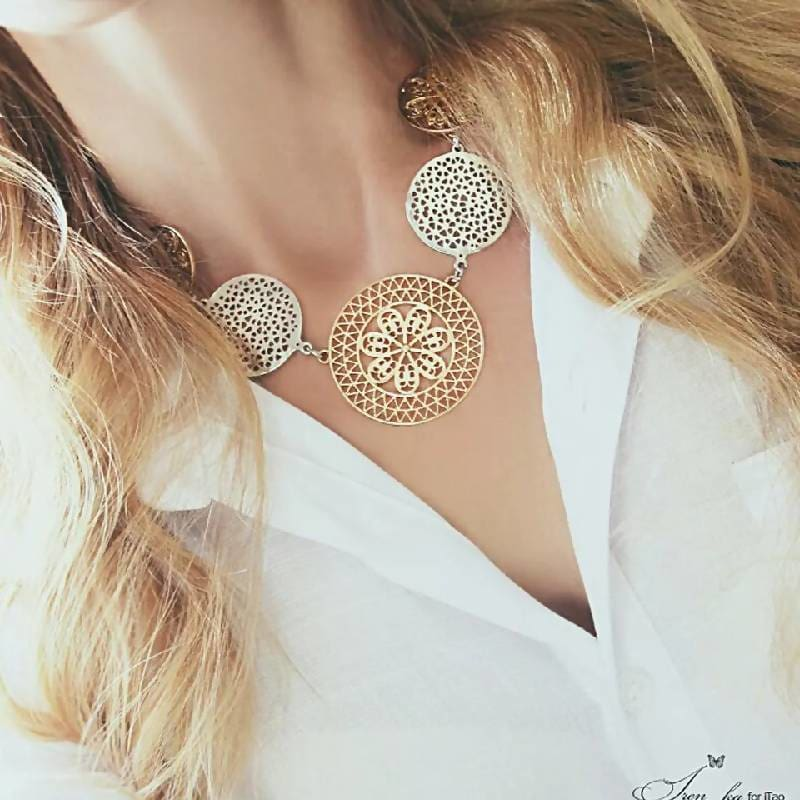 Bib Neck Charm Golden Hollow Metal Statement Necklace Apparel & Accessories > Jewelry > Necklaces