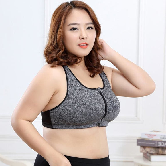 Big Big Size Professional Level 4 Stretch Sports Bras Quick-Drying Yoga Underwear Women Running Gym Zipper Adjustable Strap Apparel &