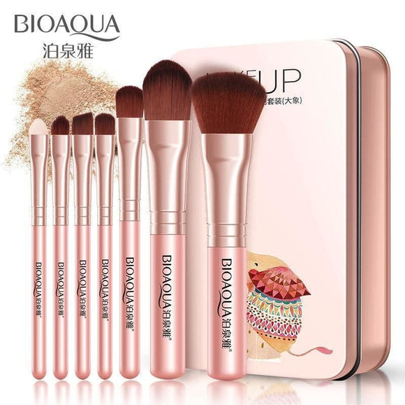 Bioaqua Soft Synthetic Hair Makeup Tools Kit Makeup Black Leather Case Cosmetic Beauty Makeup Brush Best Make Up Brushes 7Pcs Zodeys