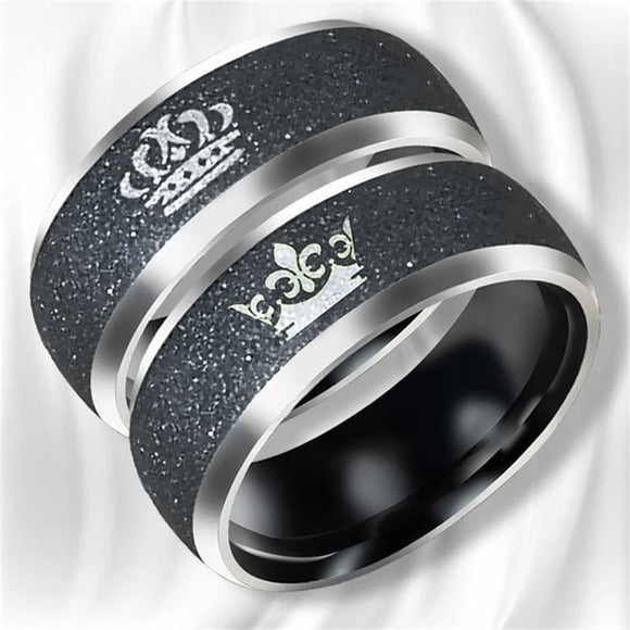 Bkld King Queen Crown Pattern Rings Titanium Steel Couples Lovers Rings For Men Women Valentines Gift Fashion Jewelry Rinbow Store