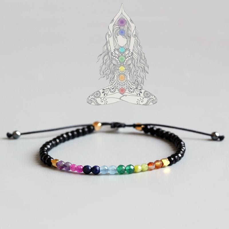 Black Agate Natural Crystal Yoga Chakra Bracelet Apparel & Accessories > Jewelry > Bracelets
