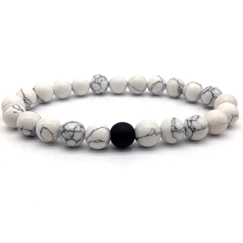 a7d35239f14 Black And White Natural Stone Distance Bracelets For Women   Men Strand  Bracelets   Bangles Lovers