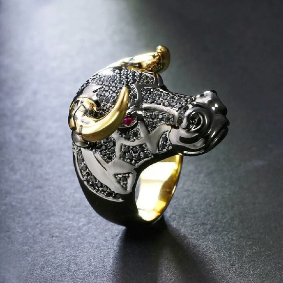 Black Bull With Golden Color Horns Punk Hip Hop Cz Big Ring Jewelry & Accessories > Rings