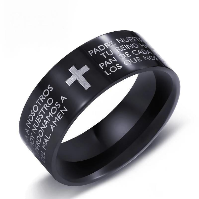 Black Cross Design Classical Holy Bible And Woman Stainless Ring Jewelry & Accessories > Rings
