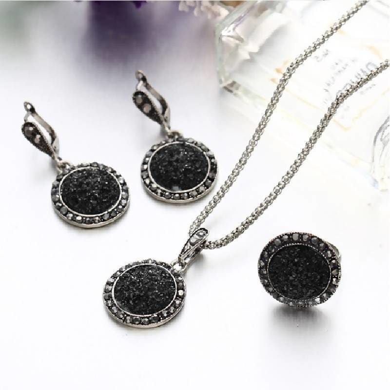 Black Crystal Round Stone Pendant Necklace Set Apparel & Accessories > Jewelry > Necklaces