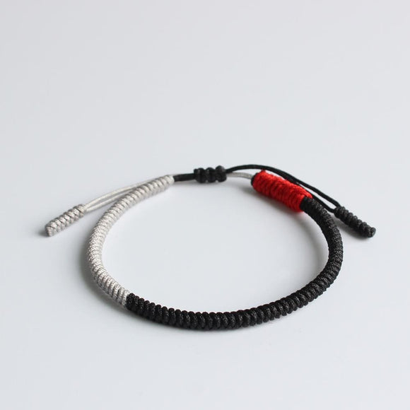 Black Silver & Red Jingang Knot Tibetan Handmade Lucky Rope Bracelet Apparel & Accessories > Jewelry > Bracelets