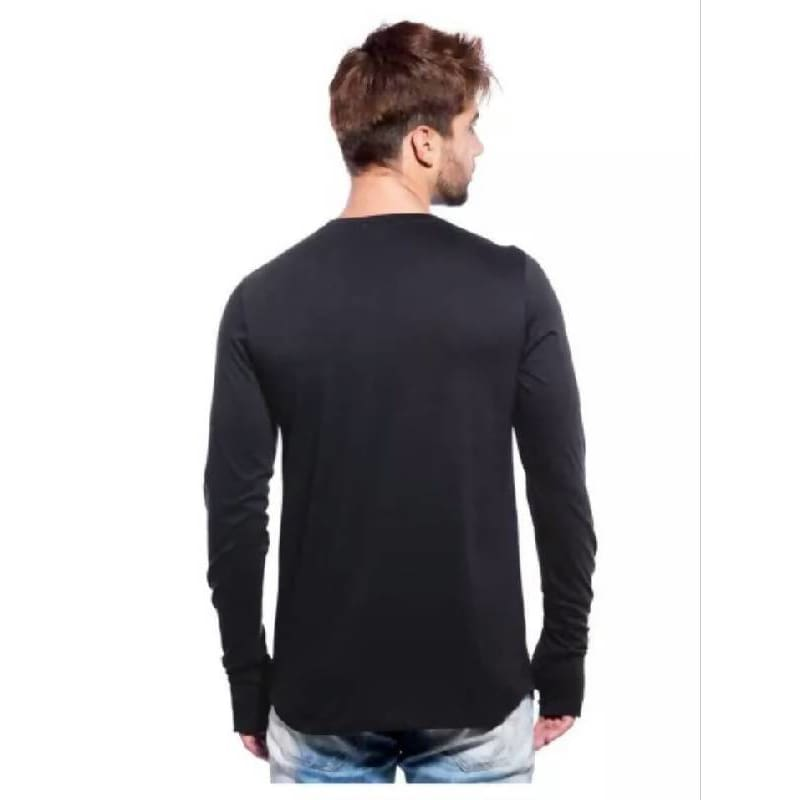 Black Solid Slim Fit Long Sleeve T-Shirt Pause Intl