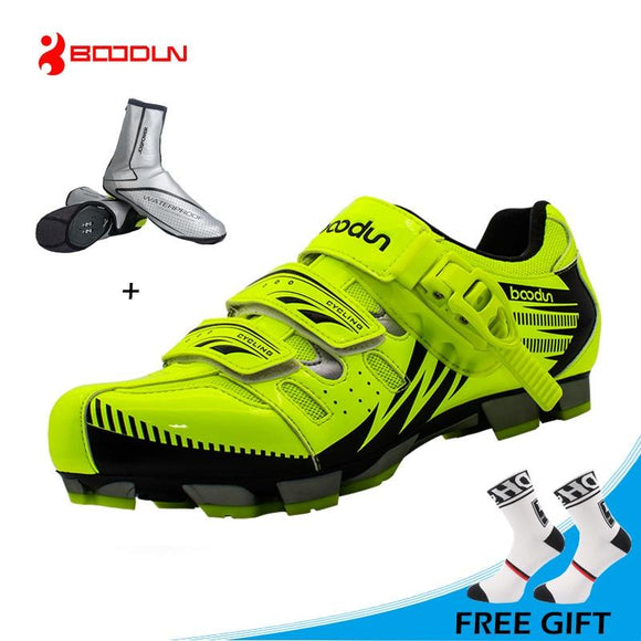 BOODUN New Design Cycling Shoes Men Outdoor Mountain Bike Shoes Self-locking MTB Shoes Non-slip Bicycle Shoes Sapatos-Shoes-Zodeys-black with shoecover-10.5-Zodeys