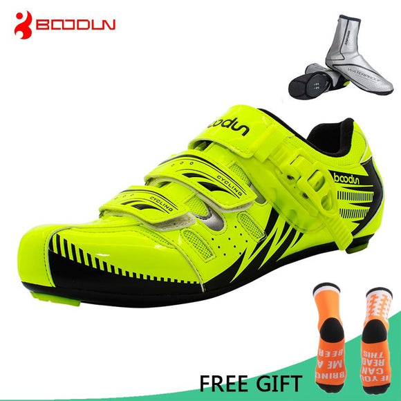 Boodun Road Cycling Shoes Men Outdoor Sport Bicycle Shoes Self-Locking Professional Racing Road Bike Shoes zapatillas ciclismo-Shoes-Zodeys-black with overshoes-10.5-Zodeys