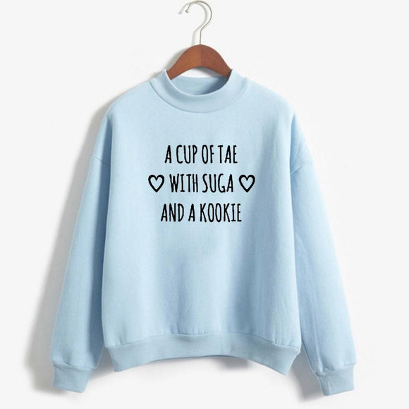 BTS Kpop Crewneck Sweatshirt women's a cup of tae with suga and a kookie funny letters printed hoodies lonh sleeve warm winter-Sweaters-Zodeys-black-L-Zodeys