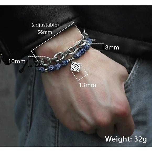 Cable Chain Square Charm Leather Adjustable Blue Bead Bracelet Apparel & Accessories > Jewelry > Bracelets