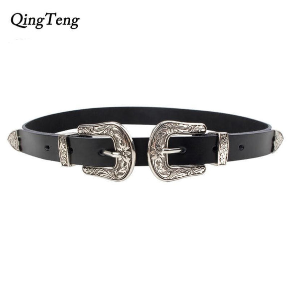 Carved Double Metal Pin Buckle Women Belts Vintage High Quality Strap Brand Designer Design Jeans Genuine Leather Belt For Woman Apparel &