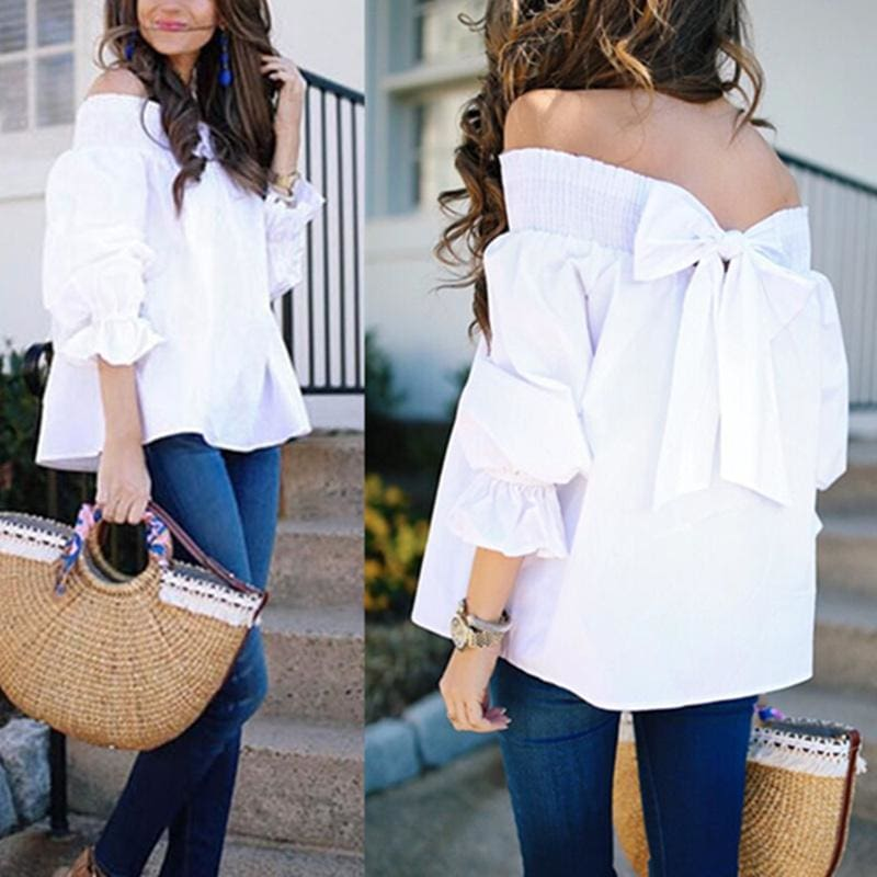 3573f6b61684ea Celmia Sexy Off Shoulder Tops Spring Summer Strapless Women Blouse Bowknot Slash  Neck Shirts Casual Loose