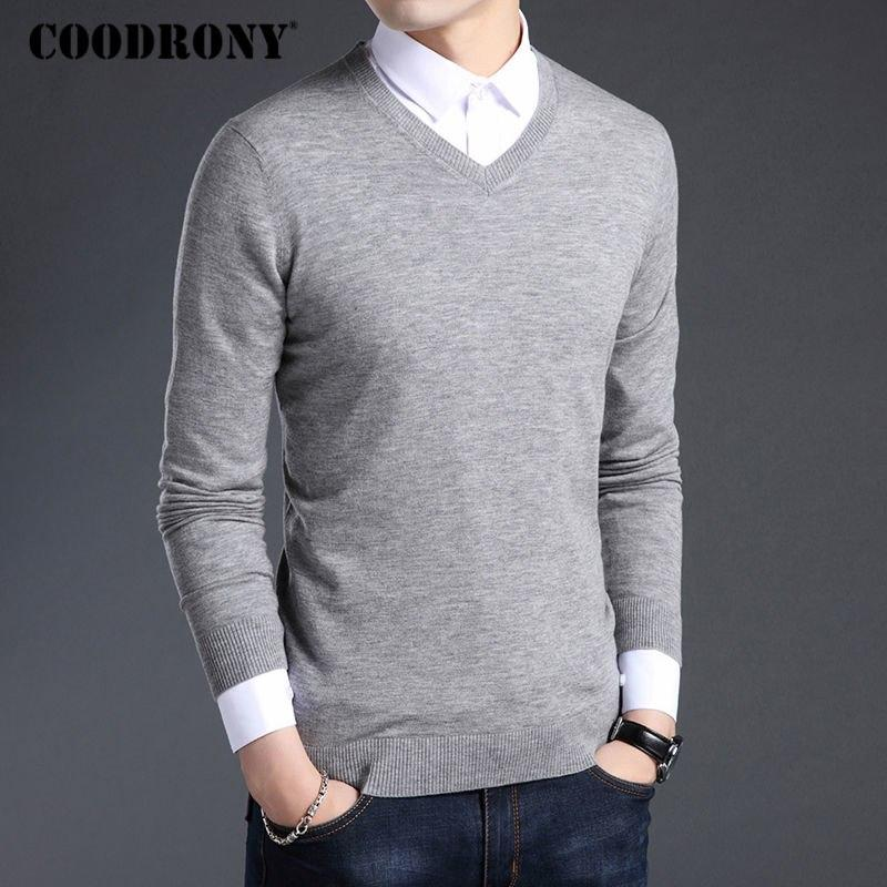 COODRONY Merino Wool Sweater Men Autumn Winter Thick Warm Sweaters And Pullovers  Casual V-Neck 44640f9f5