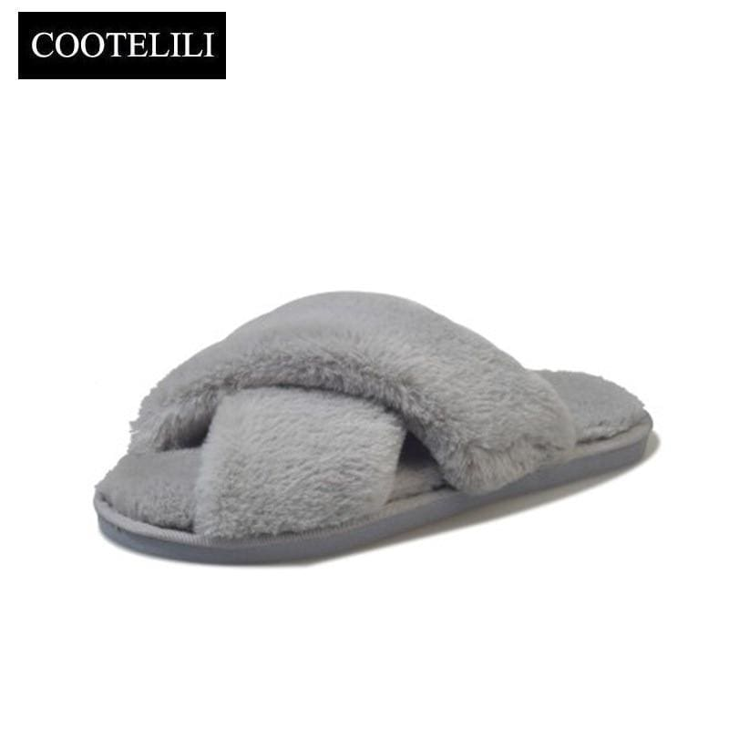 c69957ef1781 Cootelili Winter Women Home Slippers With Faux Fur Fashion Warm Shoes Woman  Slip On Flats Female
