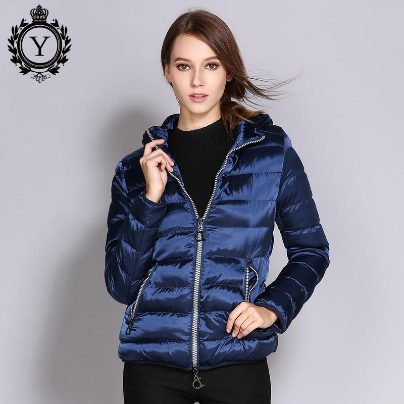5d123cdcf4e15 COUTUDI Winter Women Jacket Short Slim Female Warm Coat Shiny Nylon Solid  Royal Blue Parkas and