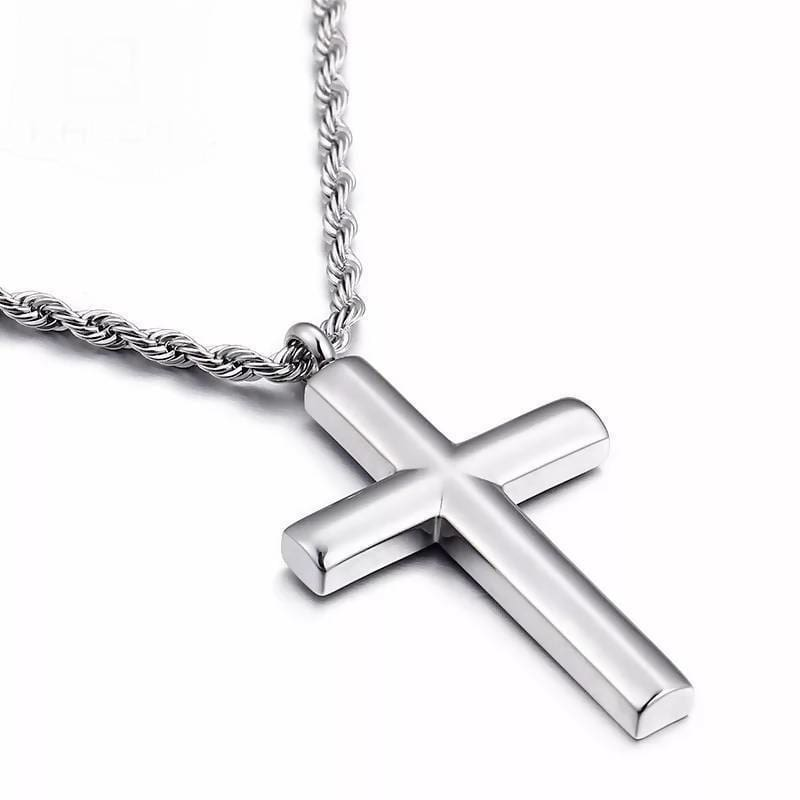 Cross High Polished Stainless Steel Silver Color Cross Pendant Necklace Apparel & Accessories > Jewelry > Necklaces