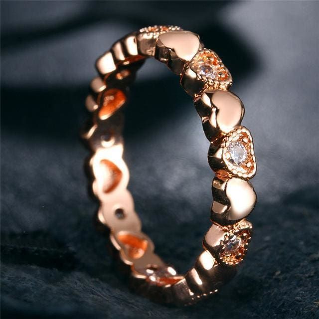 Cubic Zirconia Heart Rings Rose Gold Color Ring Wedding Jewelry For Women Infinity Lover Anillo Gift Wholesale 6 / Rj568G Jewelry &